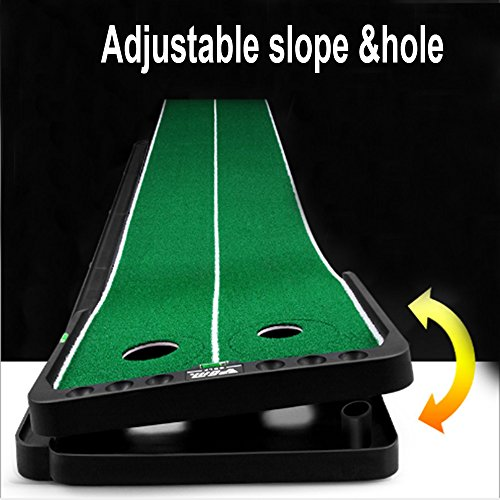 Kofull Updated Hole &Slope- adjustable Golf Putting Green Mat Widen 9.84ft Two 360° Rotating Holes Indoor Outdoor Training Automobile Ball Return System Golf Putting Training Aids for Golfer