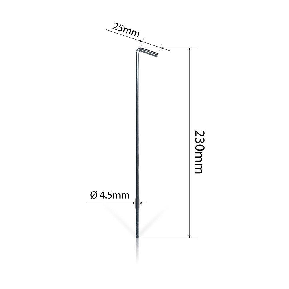 23 cm de largo, redondos Pack XL con 30 clavos de acero para tiendas de campa/ña de diMio
