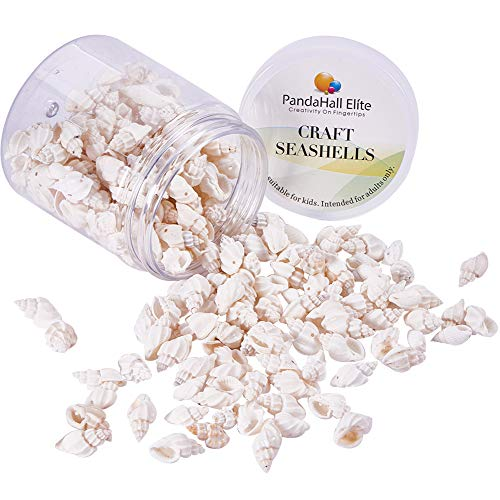 PH PandaHall About 220pcs Tiny Spiral Sea Shell Ocean Beach Seashells Charms for Candle Making, Home Decoration, Beach Theme Party Wedding Decor, Fish Tank and Vase Fill(Floral White)