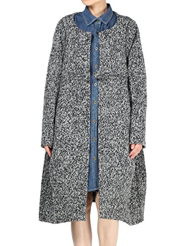Mordenmiss Women Loose One-Chinese Frog Button Wool Coat M Black Gray - Button Cuff Wool Coat