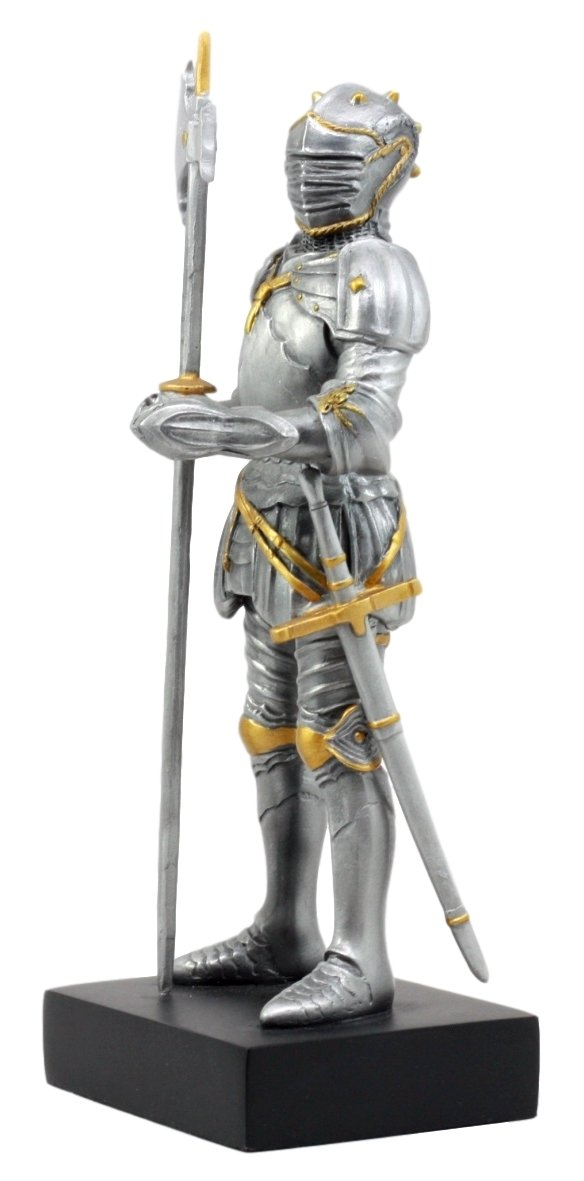 Ebros Gift Silver Gold Italian Knight Figurine 9.25 H Medieval Royal Suit of Armor Battle Axeman Resin Collectible