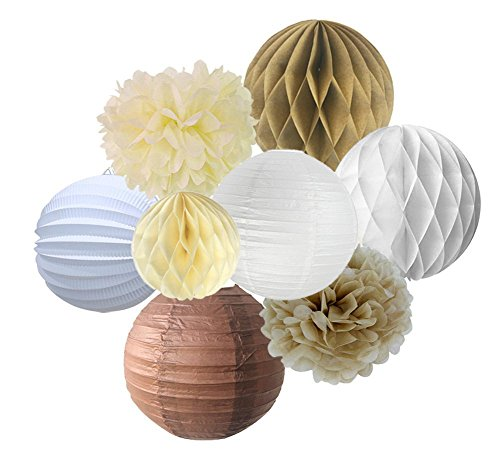 SUNBEAUTY Pack of 8 Cream Brown White Paper Accordion Lanterns Pom Poms Flowers Tan Color Paper Honeycomb Balls For Party Wedding Birthday Decorations for $<!--$12.50-->