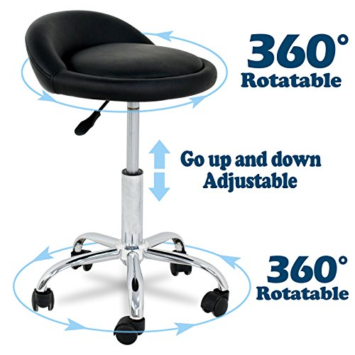 - SUPER DEAL Adjustable Height Hydraulic Rolling Swivel Stool Tattoo Facial Massage Spa Salon Medical Stool with Back Rest