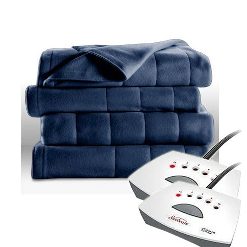 Sunbeam Heated Electric Blanket Royal Dreams Quilted Fleece King Newport Blue