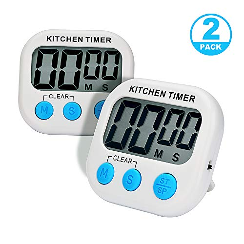 AIYEGO Digital Kitchen Timer, Electronic Memory Clock Countdown Countup Timer with Large Display, Big Digits, Loud Alarm, Magnetic Back, Retractable Stand for Cooking Baking (2)