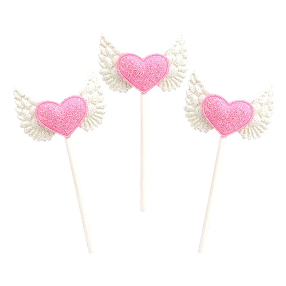 15pcs Blingbling Angel Wing Heart Cupcake Toppers Pink Food Decorations Wedding Party Supplies by Funbase (Image #4)
