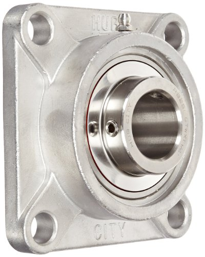 Hub City FB250STWX1-1/4 Flange Block Mounted Bearing, 4 Bolt, Normal Duty, Relube, Setscrew Locking Collar, Wide Inner Race, Stainless Housing, Stainless Insert, 1-1/4