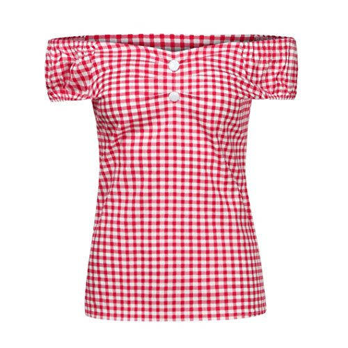 Women Blouse, CieKen Sweet Angel Off Shoulder Elegant Plaids Shirts Slim Short Sleeve Button Sexy Tee Tops (Red, XX-Large) - Angel Sleeve Blouse
