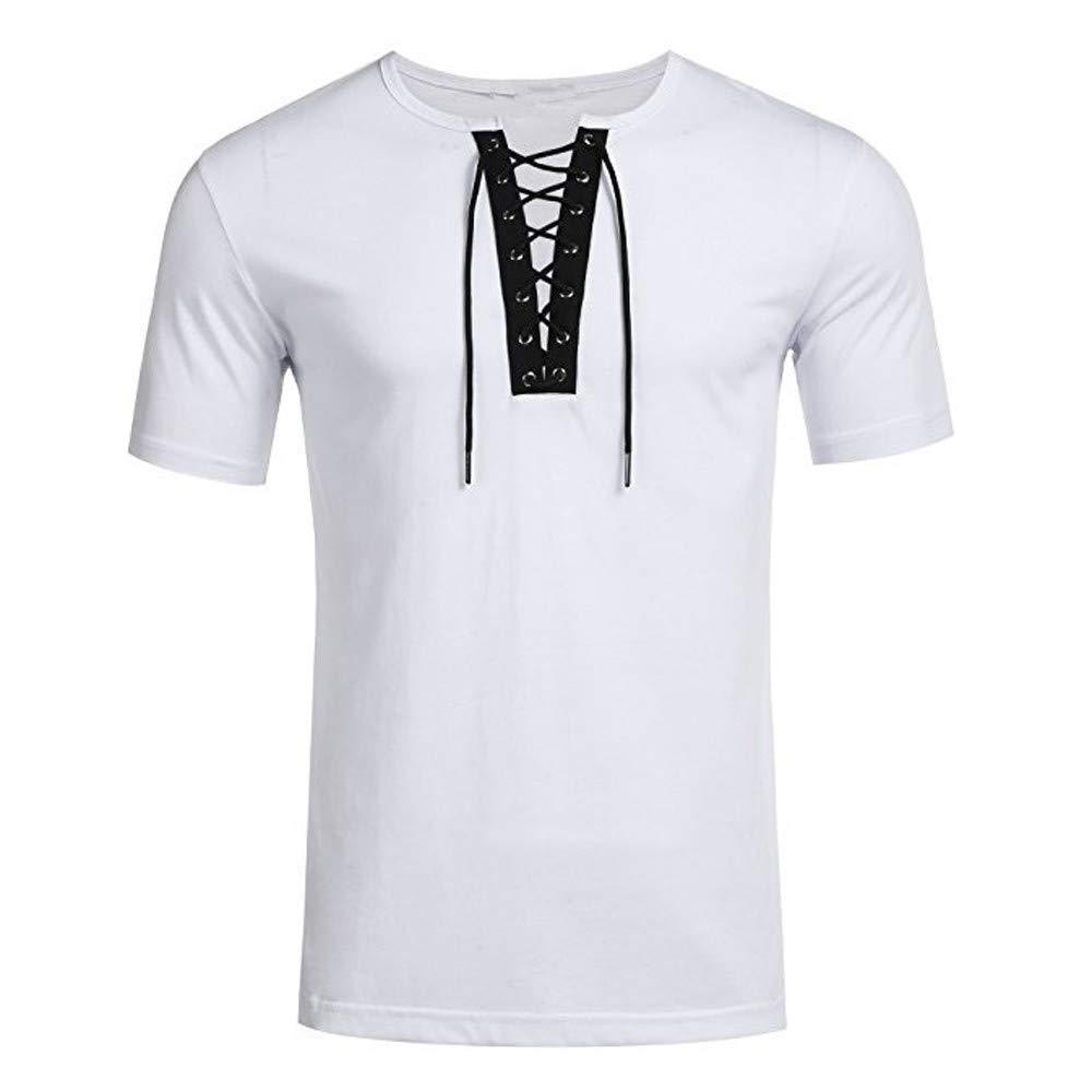 Bestow Correa de Personalidad de Tendencia de Moda para Hombre Camiseta de Manga Corta Blusa Color Puro Top: Amazon.es: Ropa y accesorios