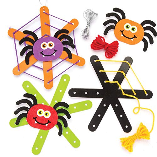 Baker Ross Spider Web Weaving Decoration Kits (Pack of 5) for Kids Halloween Crafts and Decorations