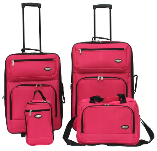 Amazon.com | Hercules Jetlite 4-pc. Pink Upright Luggage Set One ...