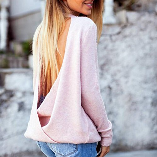 collar suelta de moda Mujeres jersey manga punto larga v rosa choker UqTPwx5t
