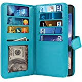 NEXTKIN Galaxy S6 Active G890 Case, Premium Leather Wallet TPU Cover, 2 Large inner Pockets Double flap Privacy, 9 Card Slots Snap Button & Strap For Samsung Galaxy S6 Active G890 - New Teal