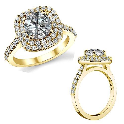 (1.25 TCW White Diamond Cushion Halo Promise Engagement Ring Wedding Band 14K Yellow Gold)