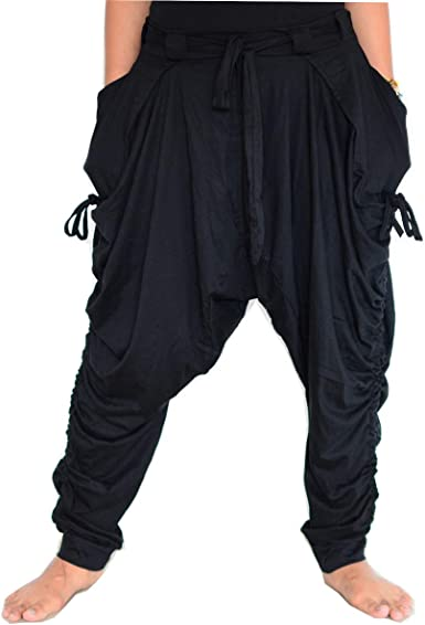 SHC Pantalones Harem Mujer y Hombre Bombachos 100% algodón: Amazon ...