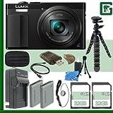 Panasonic Lumix DMC-ZS50 Digital Camera (Black) + 64GB Greens Camera Bundle 3