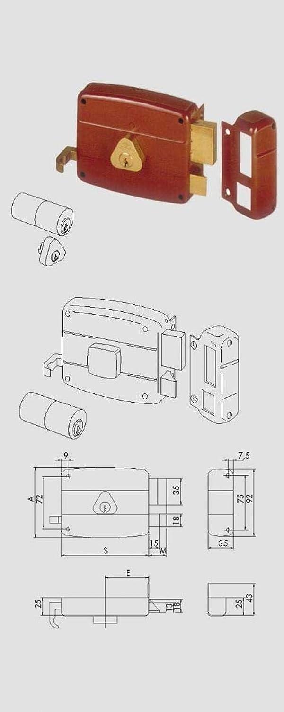 Cisa 50171 Serrure en applique gauche pour grille 8-60 mm