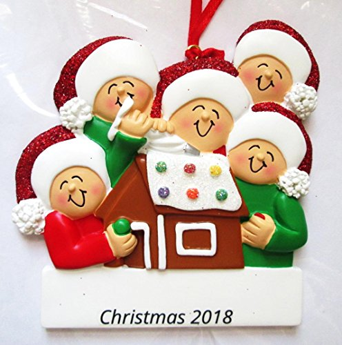 DBK Gifts Personalized Christmas Ornament Family Decorating Gingerbread House (Family of 5 Personalized ()