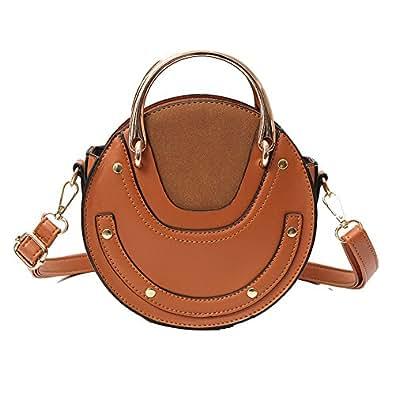 Women Crossbody Bag Circular Retro Leather Bags Women's Messenger Ladies Shoulder Tote Girl Handbag