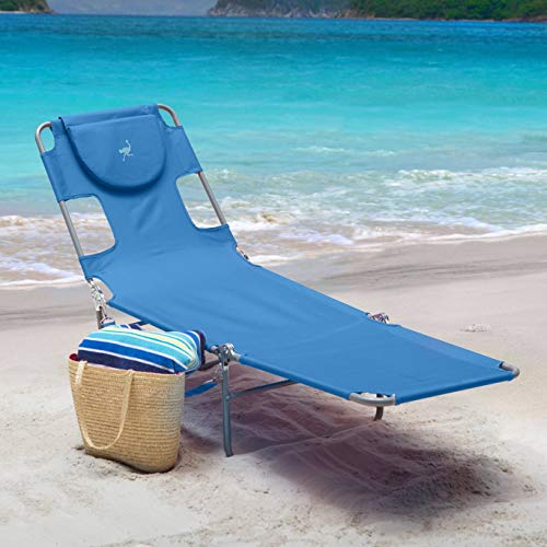 Ostrich Folding Chaise Lounge 72L x 22W x 12H in, 10 to 12 lbs. Weight Capacity 250 lbs (Blue) - Ostrich Folding Chaise