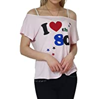 DigitalSpot Womens Casual Top I Love The 80s T Shirt Ladies Fancy 1980s Party Wear Scoop Neck Shirt Sleeve T Shirts S/3XL AU 8-26