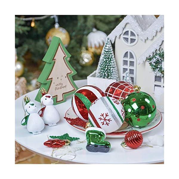Valery Madelyn Palle di Natale 60 Pezzi di Palline di Natale, 3-4 cm Collezione Classica Ornamenti di Palle di Natale Infrangibili Rosso Verde e Bianco per la Decorazione Dell'Albero di Natale 7 spesavip