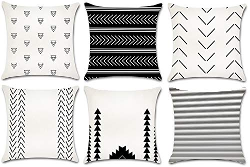 - JOJUSIS Modern Throw Pillow Covers Cotton Linen Home Decor 18 x 18 inch Set of 6 Black and White Wave