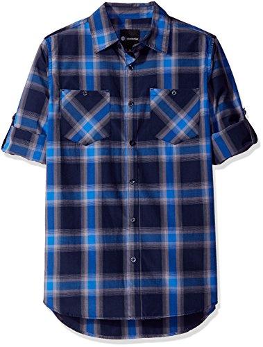 Akademiks Men's Big and Tall Broome Woven Shirt, Blue, Large