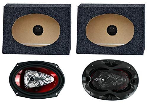 """2) Boss CH6950 6x9"""" 5-Way 600W Car Speakers + 2) QTW6X9 Angled 6x9"""" Speaker Box"""