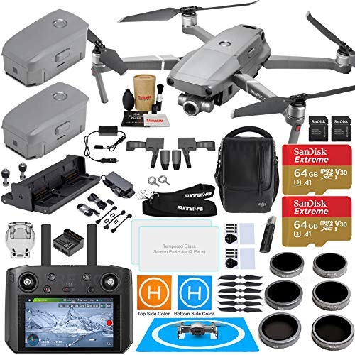 - DJI Mavic 2 Zoom Drone Quadcopter with DJI Smart Controller (W/Touch Screen Display) and Fly More Kit Combo; Comes with 3 Batteries, Professional Zoom Camera Gimbal Bundle with Must Have Accessories