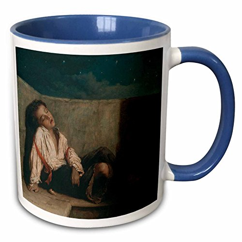 - 3dRose BLN Paintings of Children Fine Art Collection - Recess on a London Bridge, 1879-80 by Augustus Mulready - 15oz Two-Tone Blue Mug (mug_169792_11)