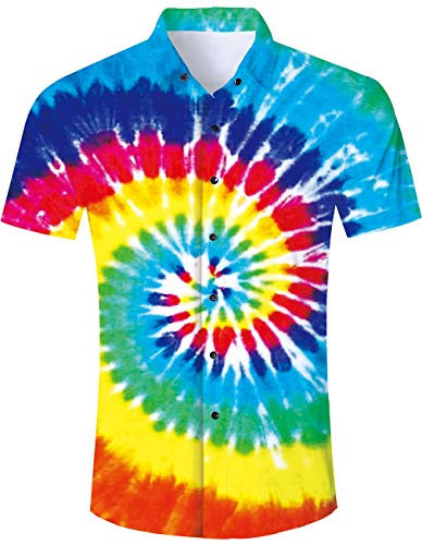 Men's Hawaiian Shirt Neon Rainbow Tie Dye Paint Print Beach Aloha Shirt Casual Button Down Short Sleeve Dress Shirt ()
