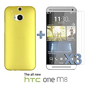 OnlineBestDigital - Ultra-Slim Colorful Transparent Case for HTC One M8 - Gold with 3 Screen Protectors