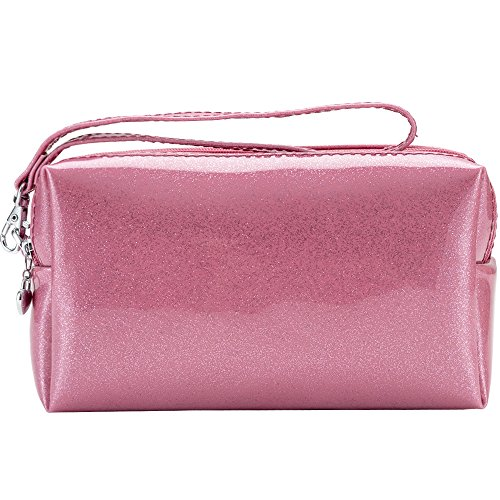 Fashion Patent Leather PU Purses Glittery Clutch Handbag Women Travel Cosmetics Bags with Removable Strap Solid Color (Pink) ()