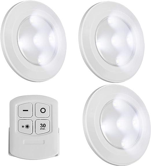 Luces Led Inalámbricas Regulables Con Mando A Distancia Funciona Con Pilas Luz Blanca Natural Tipo Botón Para Pulsar Pequeñas Luces Táctiles Ideales Como Luces De Armario Amazon Es Iluminación