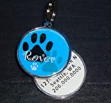 Paw Print with Pet Name on Front Pet Id Tag, My Pet Supplies