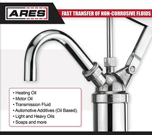 ARES 71038 | Oil Barrel Pump | 2-Piece Telescoping Suction Tube Fits 15-55 Gallon Drums | Designed to Deliver Base Oil, Transmission Oil and Heavier Fluids | Removable Spout Fits Standard Garden Hoses by ARES (Image #4)