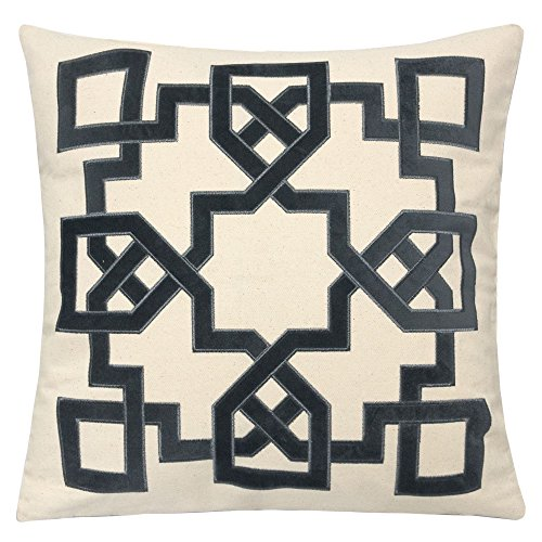 Homey Cozy Applique Throw Pillow Cover,Celtic Knot Gray Cotton Canvas Large Sofa Couch Pillow Sham,20x20 Cover Only