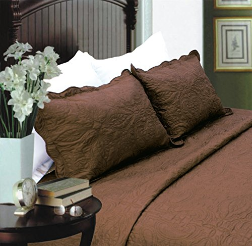 ALL FOR YOU 2-Piece Embroidered Pillow Shams-King size (king, brown)
