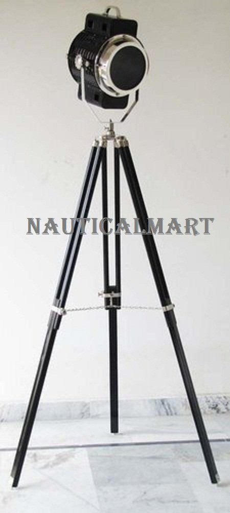 Authentic Spotlight Search Light Floor Lamp With Black Finish Tripod Stand By Nauticalmart
