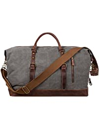 Oversized Canvas Genuine Leather Trim Travel Tote Duffel Shoulder Weekend Bag Weekender Overnight Carryon Handbag