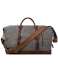 S-ZONE Oversized Canvas Leather Trim Duffel shoulder handbag Weekend Bag (Gray)