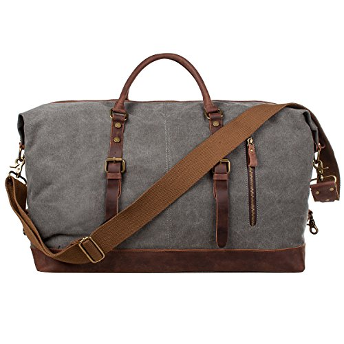 Leather Weekender - S-ZONE Oversized Canvas Genuine Leather Trim Travel Tote Duffel Shoulder Handbag Weekend Bag