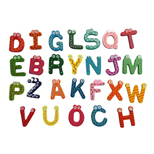 Clearance Sale !! Colorful Cute 26 Alphabets Letters Wooden Cartoon Fridge Magnet Toys, Beginners Kids Baby Girl Boy Educational Toy Mini Charming Portable Game Gift (Multicolor)