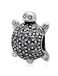 Tortoise Sea Turtle Clear Crystal 925 Sterling Silver Bead Fits European Brand Charms