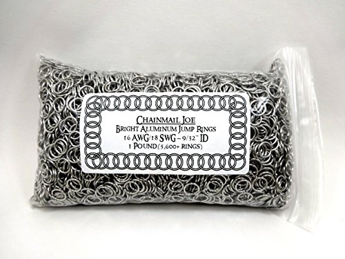 1 Pound Bright Aluminum Chainmail Jump Rings 18G 9/32