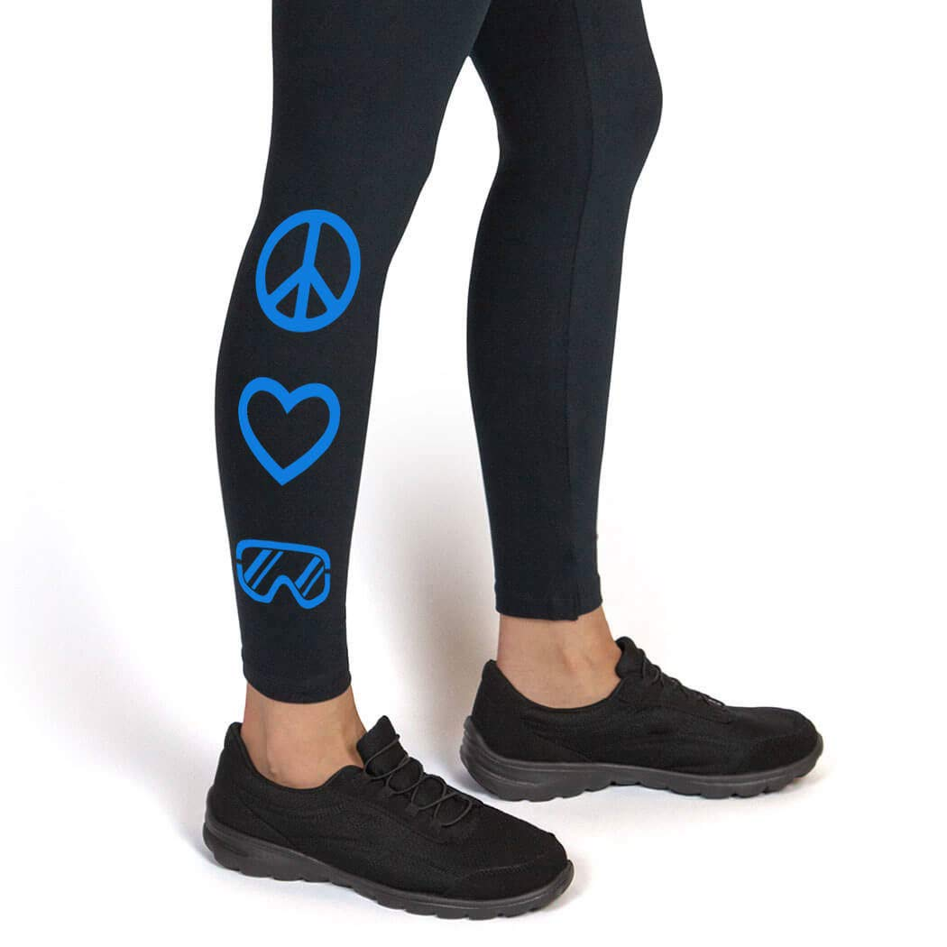 Multiple Colors Peace Love Snowboard Snowboard Leggings ChalkTalkSPORTS