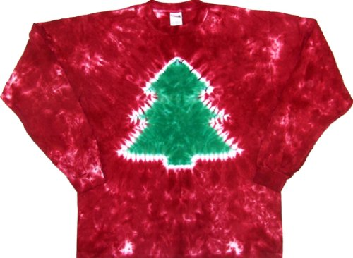 Tie Dyed Shop Red Crinkle Christmas Tree Tie Dye T Shirt-Shortsleeve-Large-Multicolor (Dead Grateful Christmas Tree)