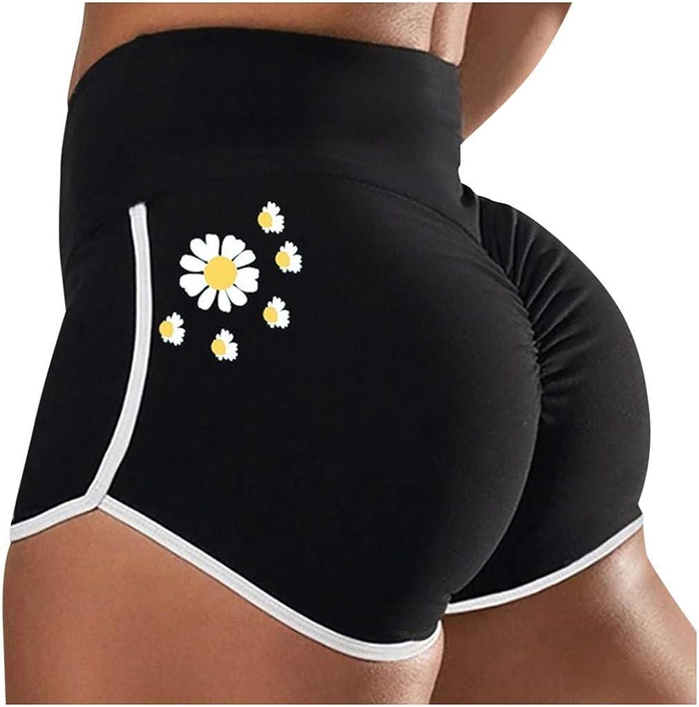 Whear Women High Waisted Workout Shorts Ruched Butt Lifting Daisy Scrunch Booty Shorts Running Lounge Sports Leggings