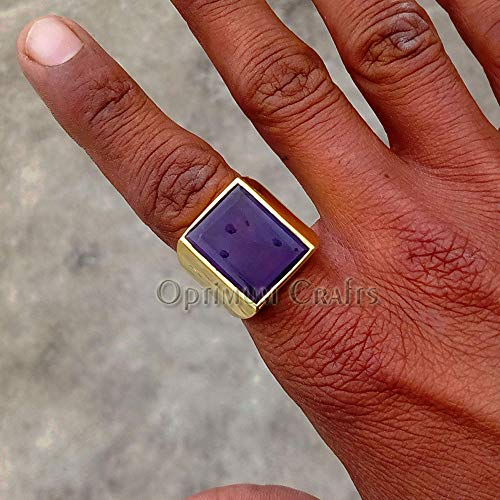 Huge Amethyst Ring, Mens Art Deco Signet Ring, Handmade 925 Sterling Silver Jewelry, Best Gift for Your Father, Husband, Brother, Mens Gold Ring, Amethyst Gold Ring, Vermeil Gold Mens Wedding Ring
